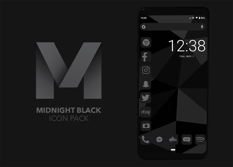 Midnight Black Icon Pack Screenshot 0