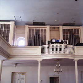 Balcony by Sandy Stevens Krassinger - Buildings & Architecture Places of Worship ( historical church, interior, chandelier, patterns, organ pipes, balcony,  )