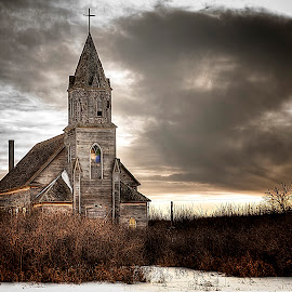 Losing My Religion by Scott Hryciuk - Buildings & Architecture Places of Worship ( winter, sky, church, moody, abandoned )