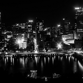 PHG BW by Charles Shope - Black & White Buildings & Architecture ( water, pittsburgh, black and white, bridges, rivers, river, city,  )