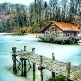 Cottage on the frozen lake by Alka Smile - Buildings & Architecture Other Exteriors