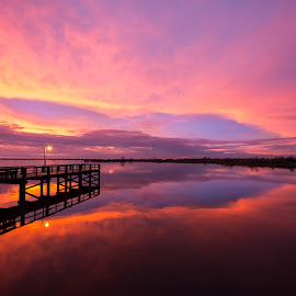 [ Mobile Sunset ] by RomanDA Photography - Landscapes Waterscapes ( clouds, water, al, reflection, sky, sunset, pier, dock, mobile )