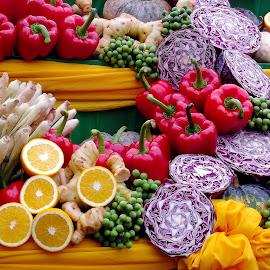 by Dawn In Phuket - Food & Drink Fruits & Vegetables ( colour, orange, fruit, peppers, cabbage, food, vegetables, thailand, asia, vegetarian, festival, phuket )