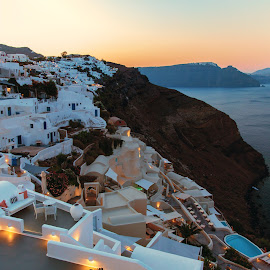 Sunrise by Dan Herman - City,  Street & Park  Neighborhoods ( greece, sunrise, oia, santorini )