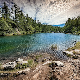 Lago delle Streghe by Alessio Coluccio - Landscapes Mountains & Hills ( water, clouds, reflection, mountain, sky, nature, waterscape, alpi, lake, devero, landscape )