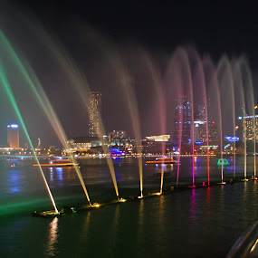 Marina Bay by Mulawardi Sutanto - City,  Street & Park  Fountains ( fountain, travel, light, singapore, marina bay )