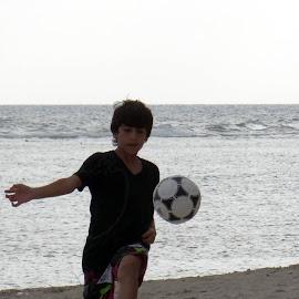 Football everywhere by Lidia Noemi - People Street & Candids ( football, playa, pelota, mar, niño, KidsOfSummer )