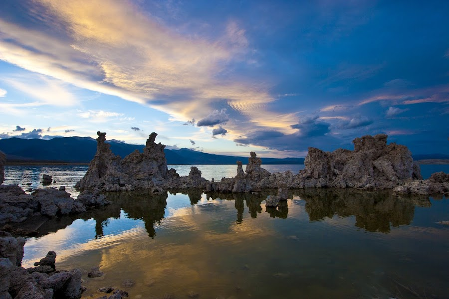 Mono Lake storm brewing. by Gale Perry - Landscapes Sunsets & Sunrises ( clouds, mono lake, blue, dramatic light, sunset, tufas, storm,  )