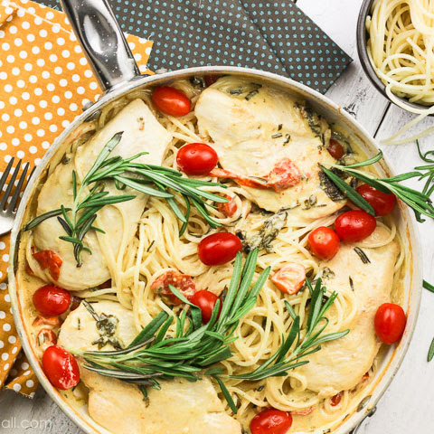 One-Pot Rosemary Goat Cheese Chicken Pasta