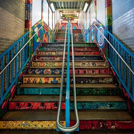 Pilsen CTA Station Stairs by John Williams - City,  Street & Park  Neighborhoods ( public art, street art, train, city neighborhood, public transportation )