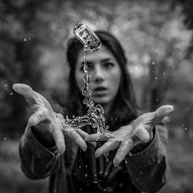 Grow by Kyle Re - Artistic Objects Other Objects ( water, macro, highspeed, fineart, splash, black and white, hands, woman, glass, focus, people )