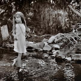 Euri Fairy 2 by Shannon Kirk - Babies & Children Child Portraits ( child, girl, tree, black and white, creek, fairy, children, rocks )