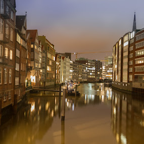 Hamburg old city by Oleksii Liebiediev - City,  Street & Park  Historic Districts ( city life, historic district, night, germany, canal, hamburg )