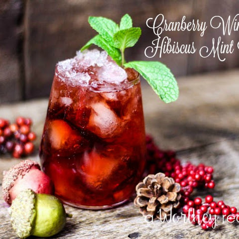 Cranberry Wine & Hibiscus Mint Cocktail