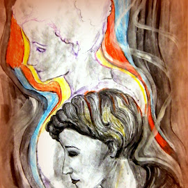 In her mind by Vesna Disich - Drawing All Drawing ( two, dtawing, artistic, lady, brown )