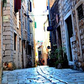 Afternoon street by Vedrana Vidovic - City,  Street & Park  Street Scenes ( afternoon, green, street, stone, nikon, people, sun )