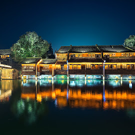 Water Village by Crispin Lee - Buildings & Architecture Homes ( colour, lights, street, night, architecture, travel, china )