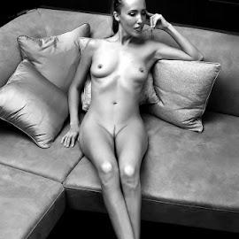 Thinking by ObjeKtiva Artphoto - Nudes & Boudoir Artistic Nude ( monochrome, black and white, boudoir, nudeart, artistic nude, beauty, sensual, exposed, glamour, sexy, thinking, artistic, artnude, feminine )