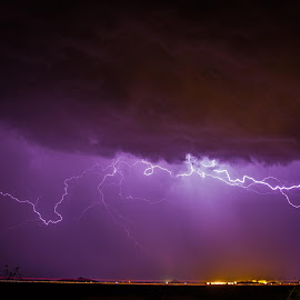 Lightning from the other night. My favorite photographic subject by far! by Joel Hanger - Landscapes Weather ( thunder, wind, electricty, bolt, purple, monsoon, electric, storm, deluge, lightning, nuclear plant, palo verde, weather, rain, el nino )