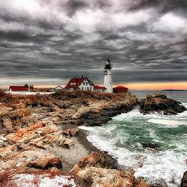 Noreaster @ Sunset by Bill Kenny - Buildings & Architecture Other Exteriors ( clouds, winter, lighthouse, ocean, storm )