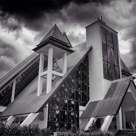 Mansinam church by Billy Tanati - Buildings & Architecture Places of Worship ( christian, church, black and white, dramatic, architecture, worship )