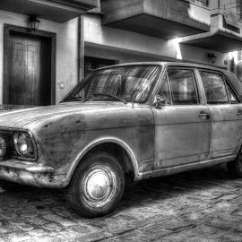 Broken  by Vagelis Baslis - Transportation Automobiles ( car, old, black and white, automobile, street )
