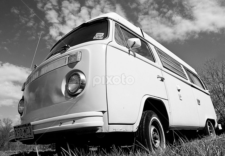 VW Bus by SumPics Photography - Transportation Automobiles ( clouds, old, wheel, black and white, grass, headlight, door, vw bus, dents, tire, mirror, whitewall, sky )