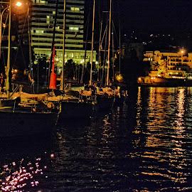 Reflections in the Night by Borna Ćuk - Landscapes Travel ( opatija, croatia, reflections, night )