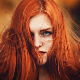 by Silvia  Janecek - People Portraits of Women ( girl, fly, woman, green, redhead )