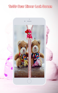Teddy Bear Zipper Lock Screen - screenshot