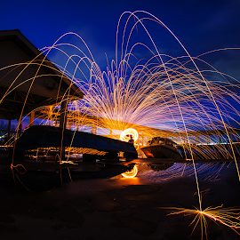 Split The Fire by Juz AnDy - Abstract Fire & Fireworks ( bluehour, canon, fisheye, 70d, blue, penang, steelwool, myr, malaysia, my, dslr )