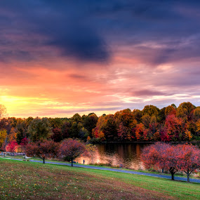 Autumn Glow by Kevin Miller - Landscapes Sunsets & Sunrises ( color, autumn, sunset, fall, washington dc, lake )