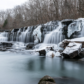 Blue Hole Falls - Cold As Ice by John Ray - Landscapes Waterscapes ( vertical, waterfalls, bright, icicles, frost, stone, rock, travel, flow, long, cold, nature, tree, snow, weather, ice nd 1000, motion, duck river, wild, tamron 70-200 2.8, white, wide, old stone fort state park, environment, winter, season, le, outdoors, scene, trees, tamron 24-70 2.8, manchester, natural, exposure, stream, icy, waterfall, state, beauty, icicle, landscape, frozen, d750, ice, creek, long exposure, nikon, wintry, 10 stop nd filter, water, park, flowing, beautiful, tennessee, scenic, wilderness, nikon d750, blue hole falls, blue, freeze, cascade, falls, background, outdoor, fall, scenery, river,  )