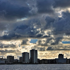 Stavanger by Roar Randeberg - Landscapes Weather ( clouds, buildings, clouds and sea, weather, cloudscape, cityscape, city )
