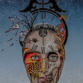 Broken by Katherine Rynor - Digital Art People ( skull, butterfly, face, clock, surreal, eyes )