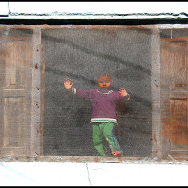 The Boy by Samik Banerjee - Novices Only Street & Candid ( child, building, window, india, street photography )