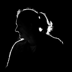 The dark side of Deb by Bronwyn Holmes - People Portraits of Women ( female portrait, black and white, silhouette )