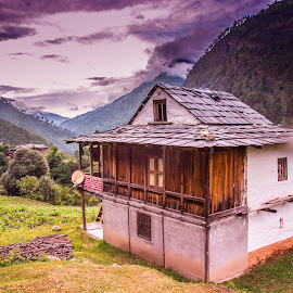 A place beyond the Hills by Akshansh Garg - Landscapes Travel ( clouds, hills, rainy, hut, grass, green, travel, valley, mountains, sky, cottage, weather, manali, india, landscapes,  )