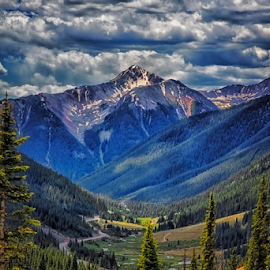 Breath of Fresh Air by Michael Buffington - Landscapes Mountains & Hills ( clouds, mountains, environment, sky, mountain, nature, blue, green, trees, forest, yellow, natural, alpine )