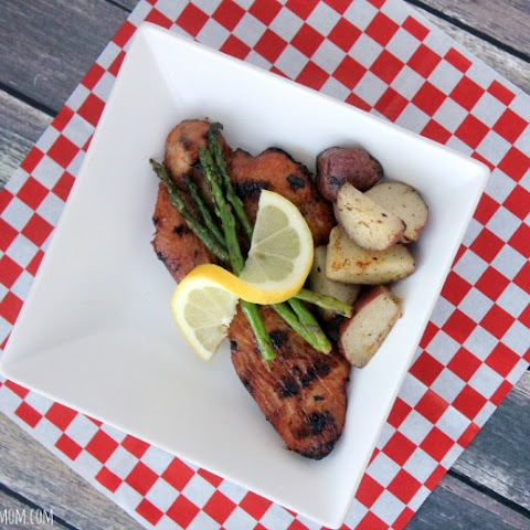 Marinated Turkey Cutlets With Potatoes & Asparagus On The Grill