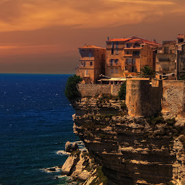 BONIFACIO CORSE by Gianluca Presto - Buildings & Architecture Homes ( water, home, houses, cliffs, cliff, corse, sea, historic district, architecture, travel, house, landscape, city, holiday, village, sunset, mediterranean, summer, landscapes, bonifacio )