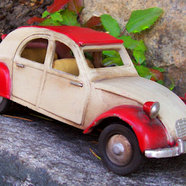 STEEL TOY ART by William Thielen - Novices Only Objects & Still Life ( car, red, toy, metal, automobile, beige, french, fenders, steel, classic, tan, iron )