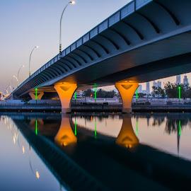 by Zulfikar Khan - Buildings & Architecture Bridges & Suspended Structures ( water, reflection, bridge, cityscape, golden hour, city )