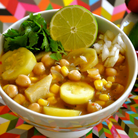 Vegan Red Chile Posole with Chickpeas