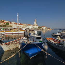 Sutivan in the morning by Dubravka Krickic - Landscapes Travel ( sutivan, church, village, harbour, boats, croatia, ropes, seaside, morning )
