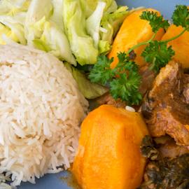 Cuban Cuisine: Lamb Stew by Roberto Machado Noa - Food & Drink Plated Food ( stew, salad, garnished, plated, cuban, rice, cuisine, tomato, white, lamb, sauce, garden, cuba )