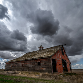 Take Shelter by Bob Juarez - Pixel Fusion Imagery - Buildings & Architecture Other Exteriors ( stormy, barn, farmland, cloudscape, decay,  )