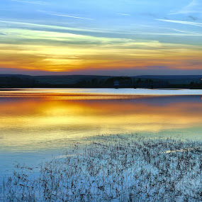 Close of the Day by James Holdsworth - Landscapes Waterscapes ( pure, reflection, silouette, serene, sunset, cloud, lake, street lamp, reeds, sun )