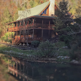 Cabin on River by James Bessel - Buildings & Architecture Homes ( cabin log cabin river reflection fall )
