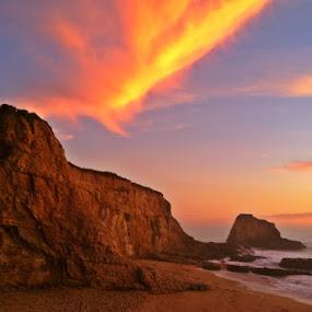 by Derek Gibbins - Instagram & Mobile iPhone ( sand, cliffs, sunset, beach, rocks )